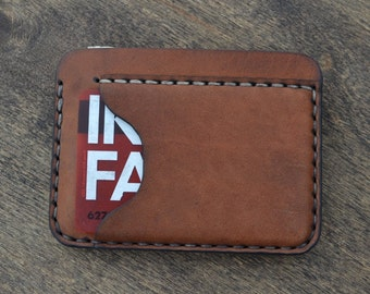 Leather Wallet with an additional pocket -Men Wallet-Leather Card Holder Leather-Handmade Brown