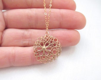 Flower necklace, circle necklace, gold necklace, delicate simple minimalist necklace