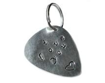 Customizable Guitar Pick Key Ring Charm - Musician Gift Idea - Wedding Favor - Handmade - Gift Box Included