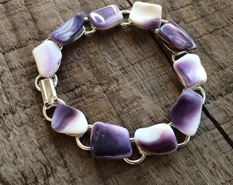 """Wampum Bracelet, Native American wampum jewelry, 7.5"""" link bracelet, purple Genuine Handpicked Wampum bracelet, Natural Wampum Jewelry"""