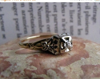 DEADsy LAST GASP SALE old mine cut : Antique Diamond Engagement Ring, White and Yellow Gold Butterfly Flower 1920s Art Deco to Edwardian Siz