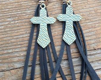 Western bronze patina cross and black deerskin leather fringe earrings #E111