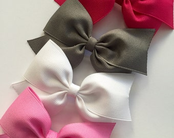 "4 Hair Bows - Baby/Toddler/Girls/Kids 3"" to 3.5"" inch Hair Bows Clips, Fully or Partially Lined - Choose 4"
