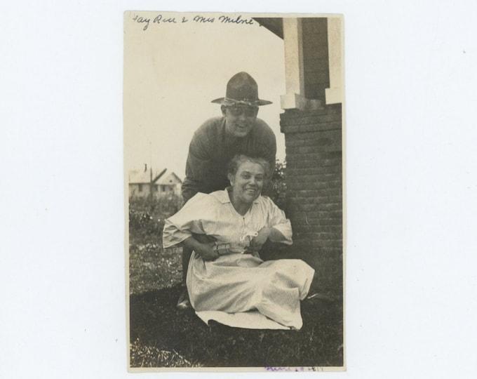 "Vintage Snapshot Photo: ""Ray Rice & Mrs. Milne, June 1918 (69497)"