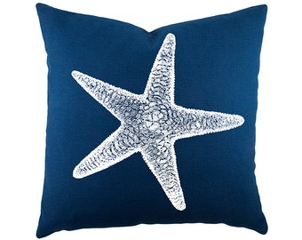 Starfish Throw Pillow, Coastal Cotton Pillow, Navy