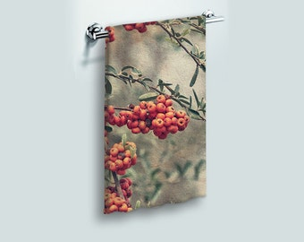 Small Face Cloth Face Towel Red Berries