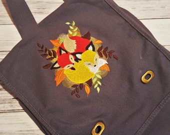 Tote Bag Messenger Bag Fox Love - Canvas Field Bag Cuddle Foxes - Snuggling Fox Book Bag - Autumn Foxes