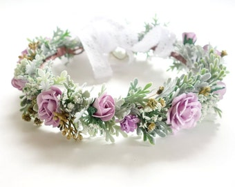 Purple Flower Crown, Lilac Flower Crown, Boho Headdress, Bridal Crown, Floral Head Wreath, Boho Wedding, Spring Wedding, Lilac SORBET FULL