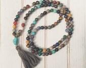 Multi color mala; mala beads; tassel necklace; 108 mala beads; boho chic necklace