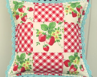 vintage strawberries patchwork pillow cover 14x14