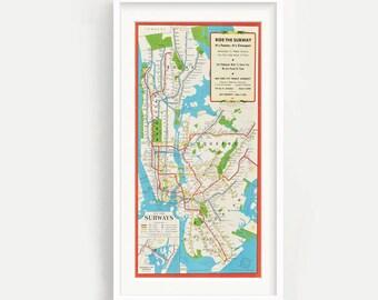 Vintage New York Subway Map Print - Pano - NYC - Manahattan - Bronx - Brooklyn,  Wall Art