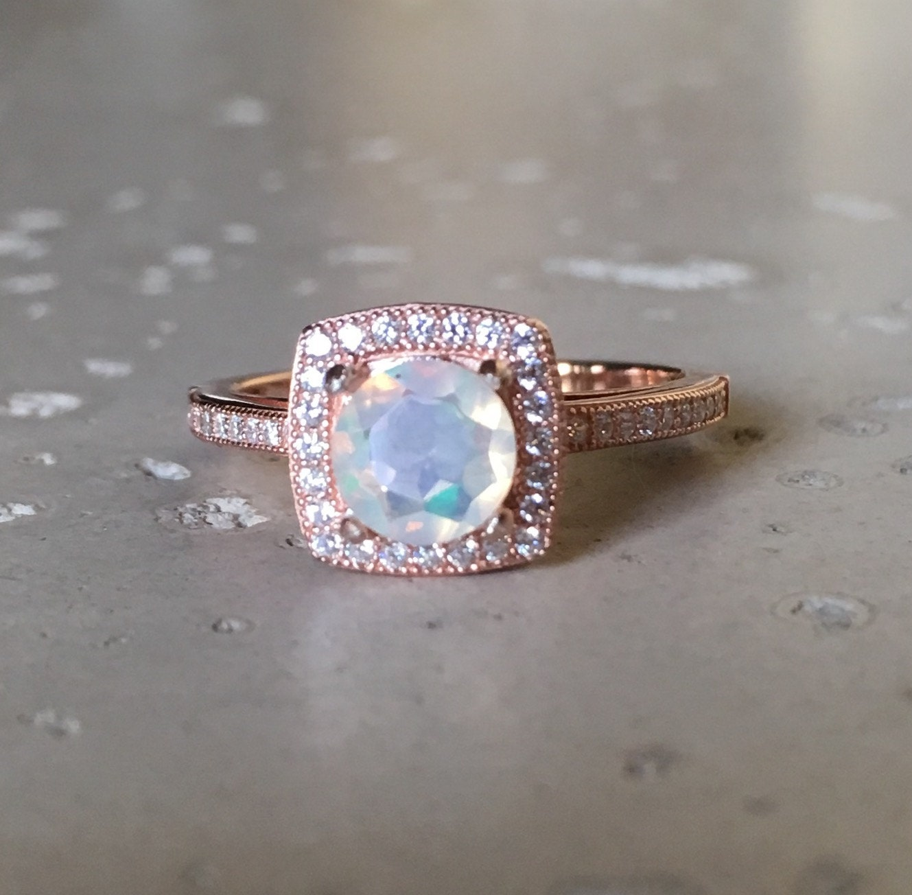 Opal Engagement Rings: Rose Gold Opal Engagement Ring Unique Opal Promise Ring