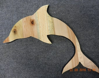 Oak & Pine Wood Pallet Dolphin to Hang on Wall -