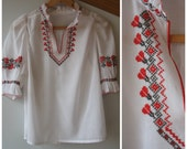 Vintage Peasant Top - Embroidered Blouse Size S
