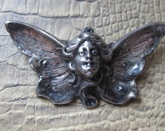 Art Nouveau Revival Winged Lady Brooch. Silver Tone Silver Plate Fashion Jewelry. 1970's Revival Vintage.Alphonse Mucha 1900 in Style Period
