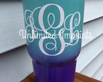 Yeti Personalized 30 oz Powder Coated Stainless Tumblers--Ombre design