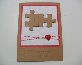 Handmade Anniversary/Love Card - Puzzle Pieces Card - You Complete Me - BLANK Inside