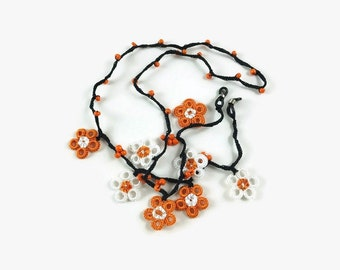 Orange and White Flowers Crochet Black Eye Glass Chains, Eye Glass Cord  Women Eye Glass Necklace Gift for Mom, Grandma Crochet Lanyard