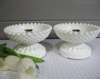 Milk Glass Candle Holders,  Hobnail Candle holders,  Wedding Tablesetting