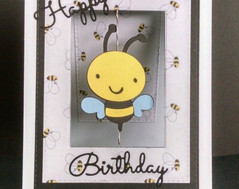 Bumble Bee Spinner Birthday Card - Happy Birthday Card - Birthday Card - Interactive Birthday Card - Spinner Card - Bumble Bee Card