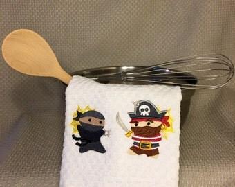 Ninja vs Pirate kitchen towel