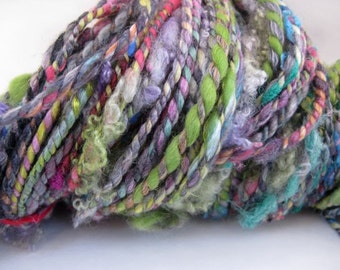 Handspun 2 Ply Textured Art Yarn, Lock Yarn