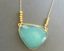 Aqua Blue Chalcedony Necklace, Gemstone Necklace, Gold nugget Necklace, Layering Necklace, Sea Foam Green Pendant, muse411