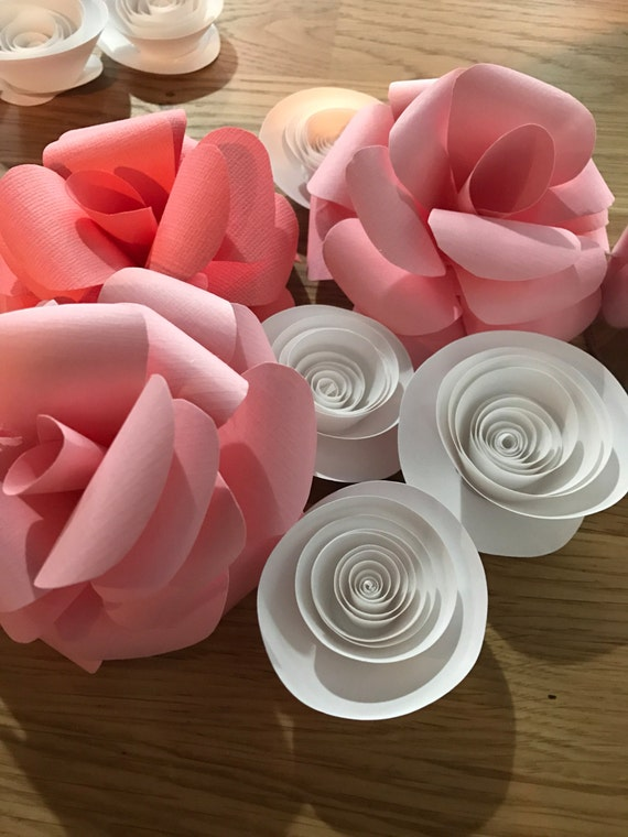 15 Paper Flowers - Paper Flowers- pink and white paper flowers