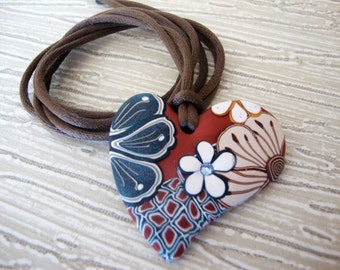 "Heart""Morrocan Spice"" Copper red background, denim blue Swarovski crystal. MADE TO ORDER"