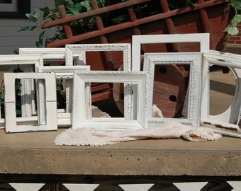 Set Of 10 Distressed Frames - Shabby Chic Frame Set - Upcycled Picture Frames
