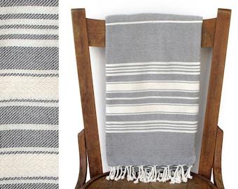 Bath Towel Handwoven Natural Cotton Turkish Bath Towel Wrap Spa Travel Towel Turkish Beach Towels Blanket Cream Grey CAPTAIN PESHTEMAL
