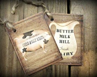 Primitive Farm Pig & Milk Hang Tags