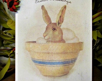 Easter Blessings Bunny Greeting Card - FREE SHIPPING
