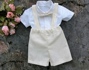 Baby boy wedding outfit.Toddler boy baptism outfit. Baby ivory baptism suit. Baby boy suspender outfit. Baby boy christening outfit.