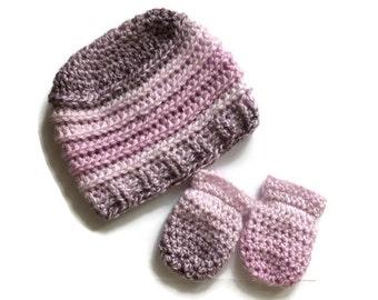 Baby hat and mittens set, newborn 3-6 month's,new born,baby crochet beanie hat,baby shower gift,baby mittens,baby girl.
