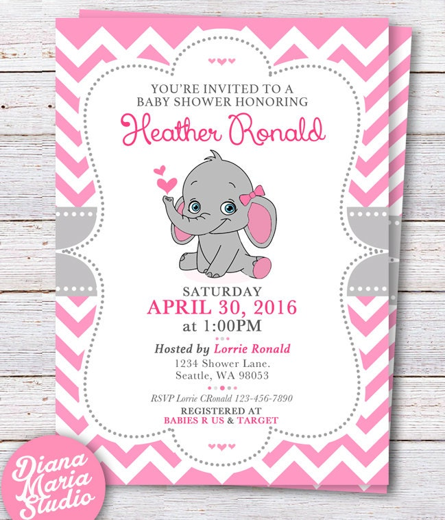 elephant baby shower invitation pink elephant girl baby