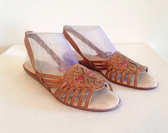 Vintage Sling Back Huaraches Woven Leather Sandals 1980s