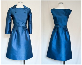 1950s Vintage Blue Silk Suit Dress with Jacket - Silk Fashions Inc. Tailored in British Crown Colony - Sz 10
