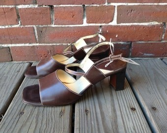 90s Cole Haan city ankle strap brown leather chunky low heel sz 9