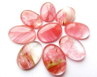 2pcs Cherry Quartz Cabochons 18 x 25 mm Volcano Cherry Quartz Oval Cabochon Pink Quartz Watermelon Pink Cabochon Craft Supplies (2)