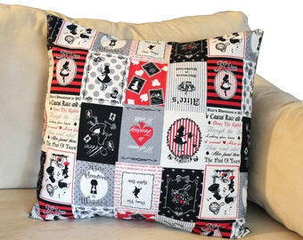 """Alice in Wonderland Block 18"""" x 18"""" Envelope Pillow Shams - Set of 2 - 2 colors available"""