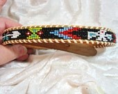 "Vintage Beaded Leather Belt Boys 26"" Native American"