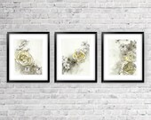 Yellow and Grey Wall Decor - Set of Three Yellow and Grey Prints- Spring Roses