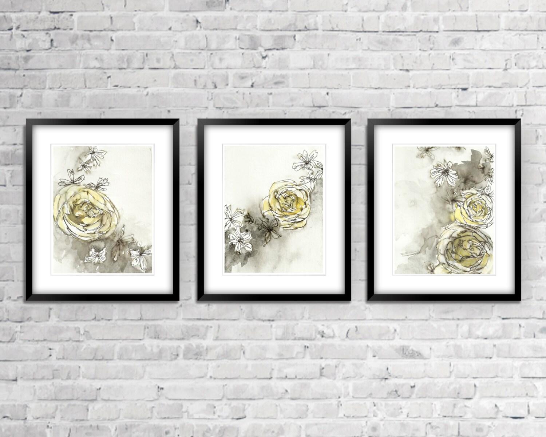 Wall Decor Set Of Three : Yellow and grey wall decor set of three