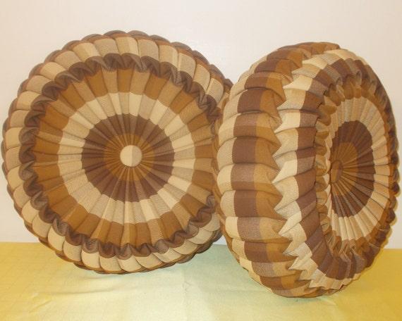 Handmade Round Cushion / Pumpkin Decorative Pillow Pair of