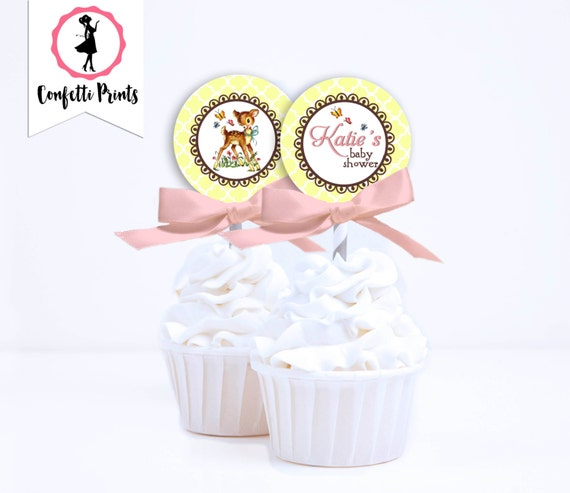 Woodland Baby Shower Cupcake Toppers | Baby Deer Shower | Rustic Baby Shower | Forest Baby Shower | Woodland Birthday - FANCY FAWN