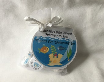Unique Personalized Fish bowl, Under the Sea Party favor tags, Gift tags