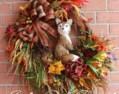 "Large Rustic Fox Autumn Fall Woodland Wreath, Sisal 12"" Fox,X-Large, rust, orange, Fall floral, Autumn Floral, Large Door wreath"