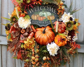 Welcome To Our Home Deluxe Fall Sunflower Wreath, XL Autumn Pumpkin Wreath, Fall Floral Decor, Floral Wreath, Wisteria