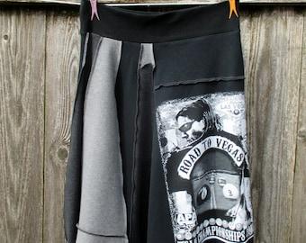Upcycled Skirt Cotton Skirt T Shirt Skirt Recycled 8Ball Pool Vegas Flared Tshirts ThankfulRose
